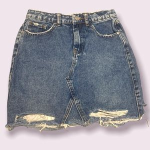 🔥Jeans ripped mini skirt faded